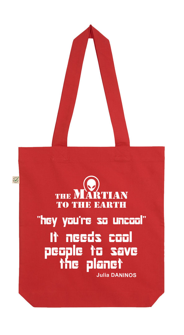 ORGANIC COTTON BAG RED  ENGLISH MESSAGE - THE MARTIAN  Julia DANINOS
